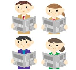 新聞を読む人たち