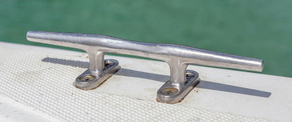Steel stake of yacht or boat