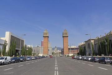 Plaza de Espanya in Barcelona, Spain.