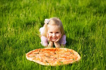 Child and pizza