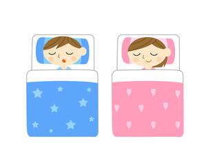 布団で寝る子供