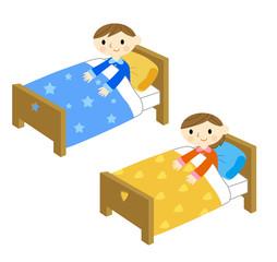 ベッドで寝る子供