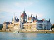 The building of the Parliament in sunset lights. Budapest, Hunga