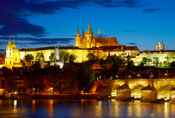 Prague Castle after sunset. Czech republic