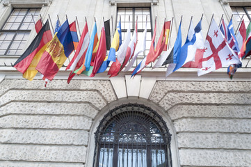 Flags on Hofburg palace in Vienna, Austria