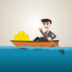 cartoon businessman with gold coin on ship