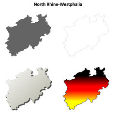 North Rhine-Westphalia blank outline map set