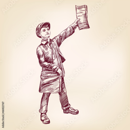 Paperboy selling news papers hand drawn vector llustration - 66422767