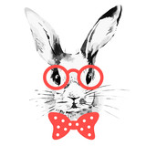 Fototapety Hipster rabbit. Hand drawn watercolor sketch portrait