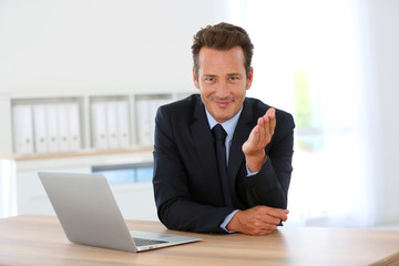 Businessman in office meeting business partner