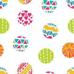 Summer polka dot. Vector seamless pattern.