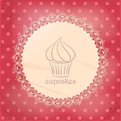 vintage cupcake background on pink