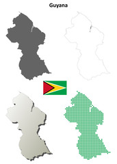 Guyana blank outline map set