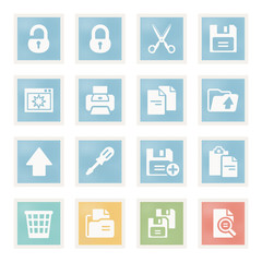 Document icons on paper.