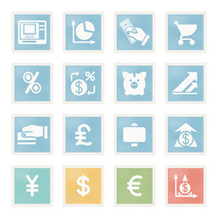 Finance icons on paper.