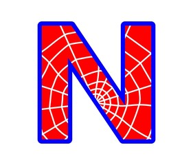 N letter - spider web alphabet