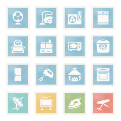 Home appliances icons on paper.