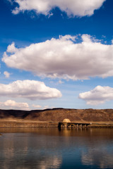Vertical Banner Columbia River Crossing Mountains Blue Sky Cloud