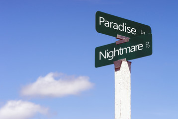 Paradise Nightmare Signs Crossroads Street Avenue Sign Blue