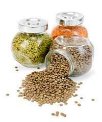 Lentil different in jars