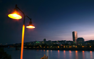 Willamette River Waterfront Downtown Portland City Skyline