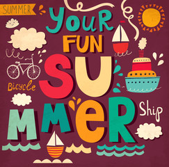 Vector card with funny letters and ships