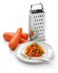 grated carrot salad(carottes rapees) and grater