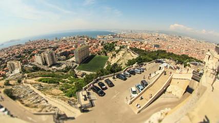 Marseille Cityscape Time Lapse Fisheye