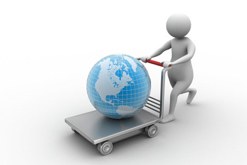 person with a shopping trolley and globe