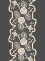 Seamless lace vertical ribbon with abstract floral pattern.