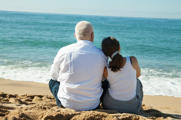 mature couple at sea vacation