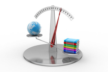 World and books balancing a scale