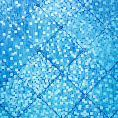 Blue color oriental antique style tiles wall