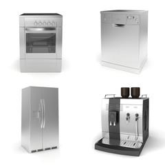 3d render of household appliances on white background