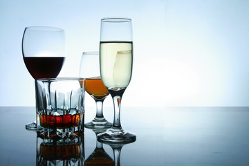 Different Alcoholic Drinks in glass and goblets