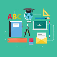 Flat Design Concept Education and E-Learning Icons Vectors