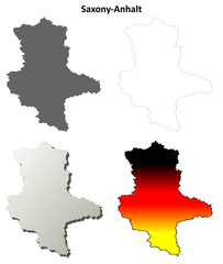 Saxony-Anhalt blank outline map set