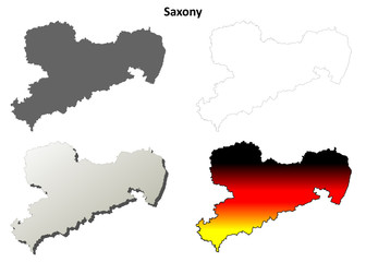 Saxony blank outline map set
