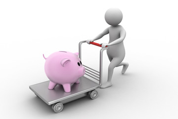 3d man with a shopping trolley and pink piggy
