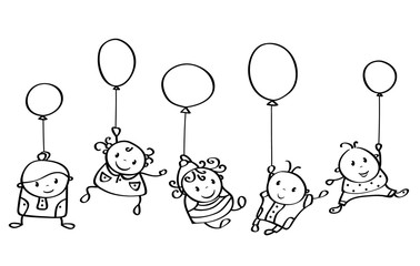 Vector silhouette happy kids cartoons with balloons isolated.