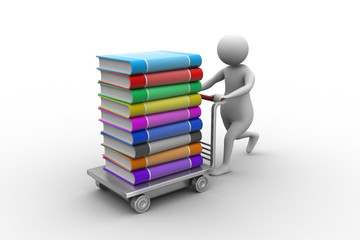 3d man pushing hand truck with books