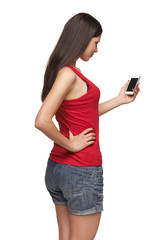 Rear view of a woman with mobile phone