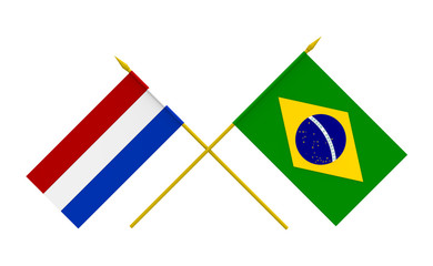 Flags, Brazil and Netherlands