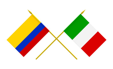 Flags, Italy and Colombia