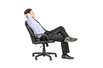 Relaxed man sitting in an office chair