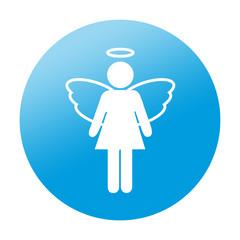 Etiqueta redonda angel femenino