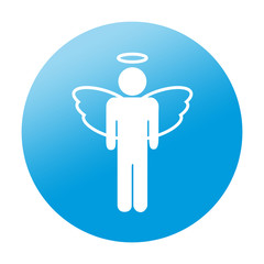 Etiqueta redonda angel masculino