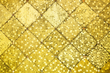 Golden color oriental antique style tiles wall