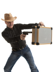 Man with a pistol and case