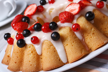 Fruit cake with berries and icing sugar closeup.